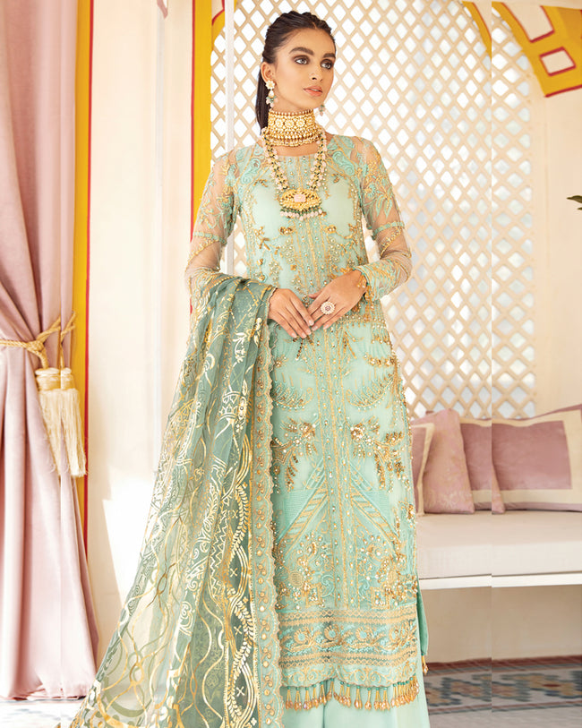 Sea Green Color Party Wear Unstitched Pakistani Salwar Kameez Suits