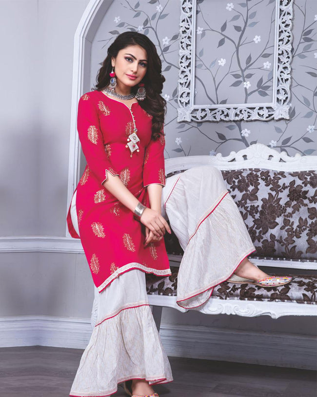 Magenta Pink Color Fancy Cotton Sharara Suit