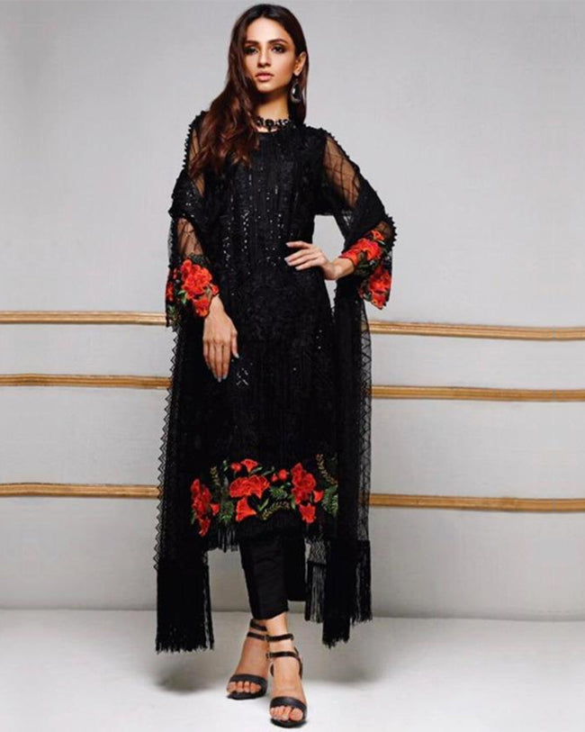Hypnotic Black Color Netted Unstitched Pakistani Suit
