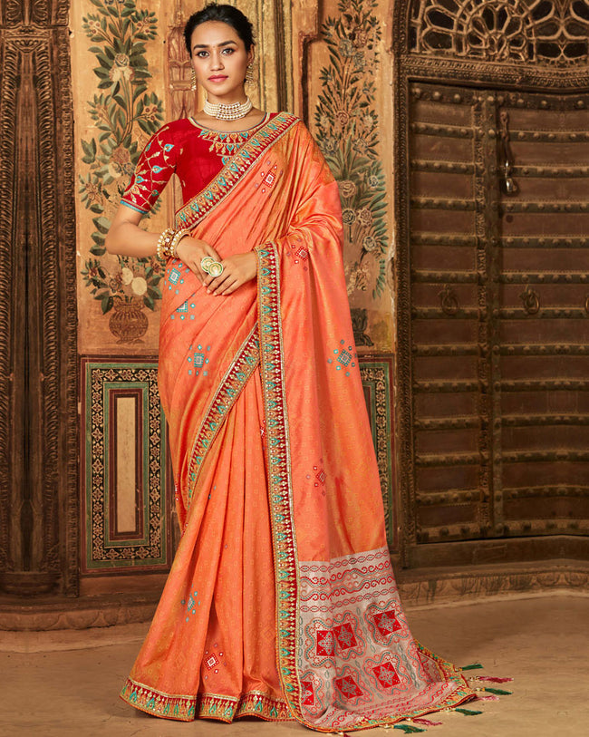 Orange Color Banarasi Silk Patch Border Classic Designer Saree
