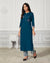 Navy Blue Color Casual Wear Rayon Slub Palazzo Suit