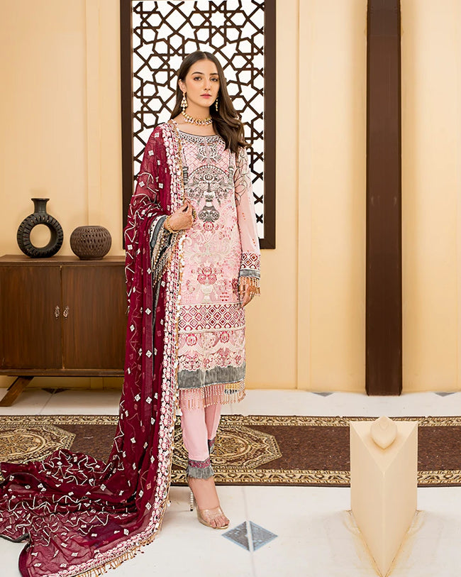 Pink Color Party Wear Gerogette Unstitched Pakistani Salwar Kameez Suits