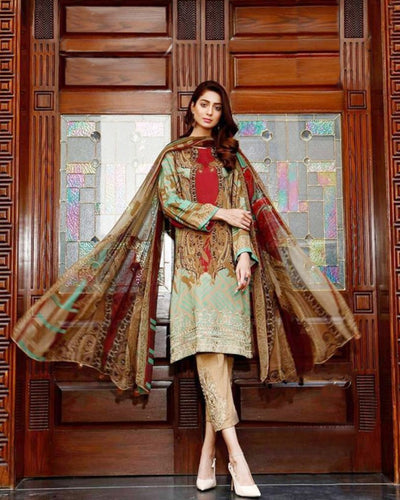 Brown Color Jam Cotton Printed Pakistani Pant Suit (Made in India)