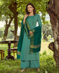 Sea Green Colored Casual Rayon Palazzo Suit with Dupatta