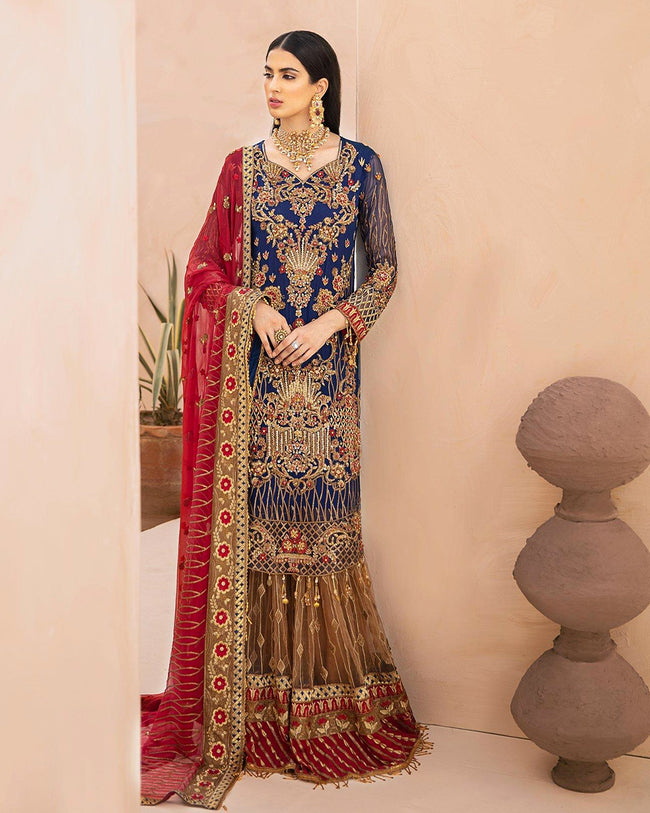 Charming Navy Blue Color Bridal Wear Dress Material Pakistani Palazzo Suits