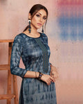 Light Blue Color Two Tone Casual Wear Rayon Printed Kurti
