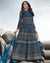 Blue Color Bridal Wear Net Semi Stitched Anarkali Gown Dress