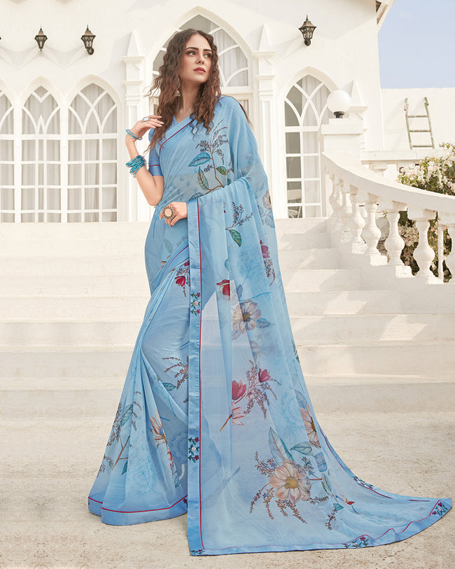 Light Blue Color Pure Georgette digital print Saree
