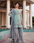 Gray and Sea Green Color Party Wear Georgette Dress Material Pakistani Suit