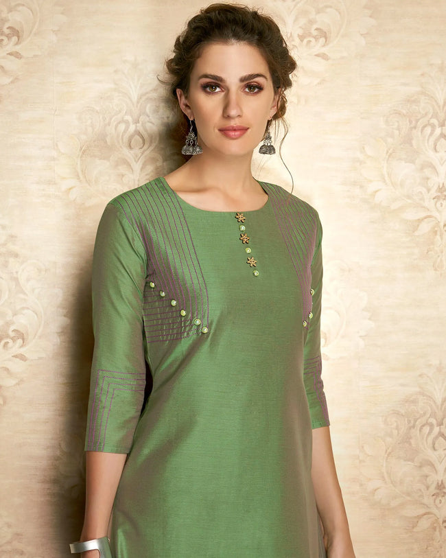 Green Color Partywear Embroidered Viscose Knee Length Kurti