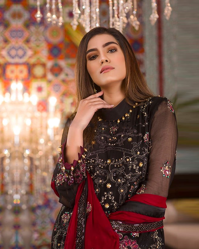 Dazzling Black Color Georgette Unstitched Pakistani Palazzo Style Suits