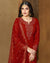 Red Colored Bridal Wear Semi Stitched Sharara Suit