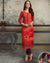 Red Color Festive Wear Printed Rayon Stylish Pant Suits