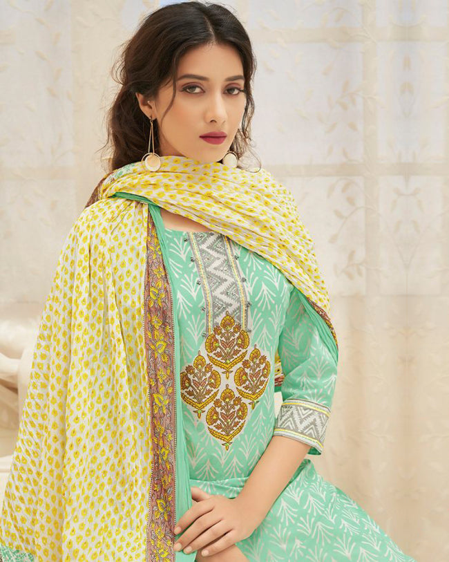 Sea Green- Yellow Color Cotton Printed Palazzo Suit With Dupatta