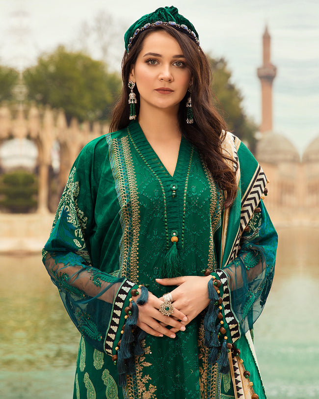 Eid Collection 2021 Green Color Unstitched Cotton Lawn Pakistani Salwar Kameez Suit