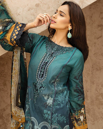 Teal Blue Color Jam Silk Digital Print Lawn Pakistani Suits (Made in India)