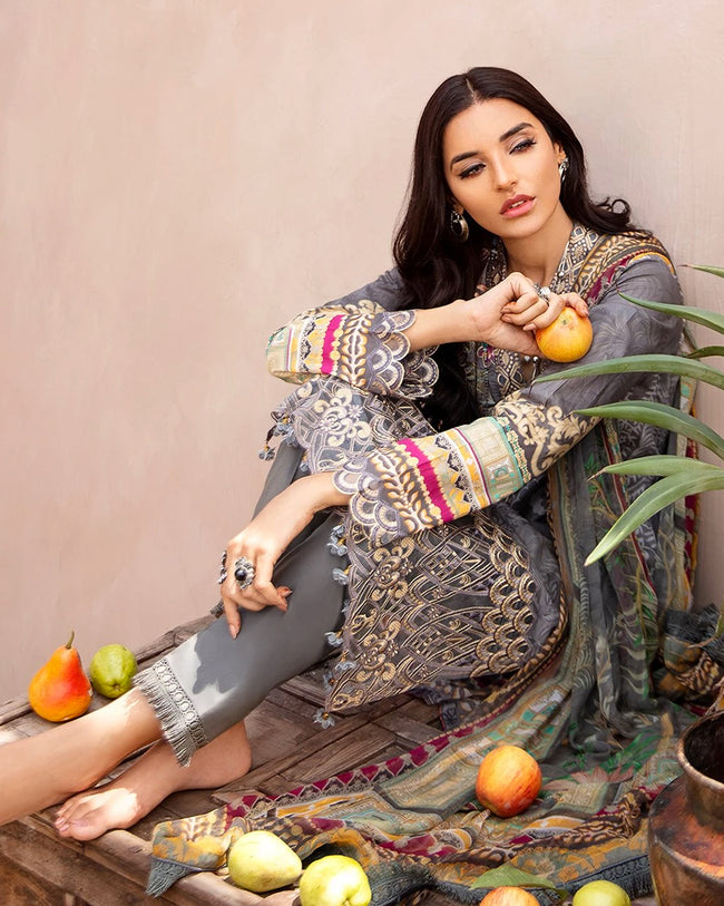 Gray Color Pure jam Cotton Printed Pakistani Pant Suit (Made in India)