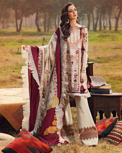 Off White Color Festive Wear Cotton Lawn Pakistani Pant Suits (Made in India)
