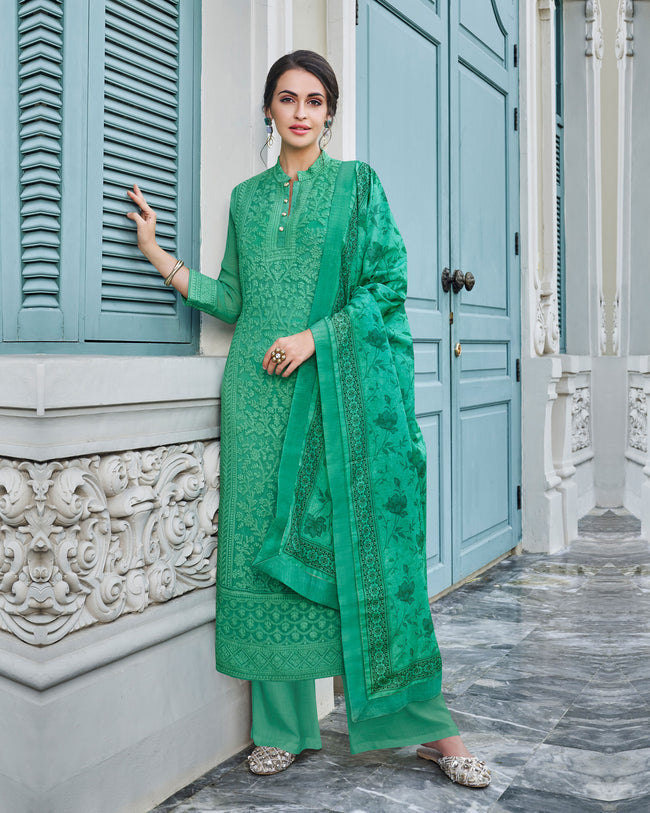 Green Colored Partywear Embroidered Palazzo Suit with Printed Dupatta