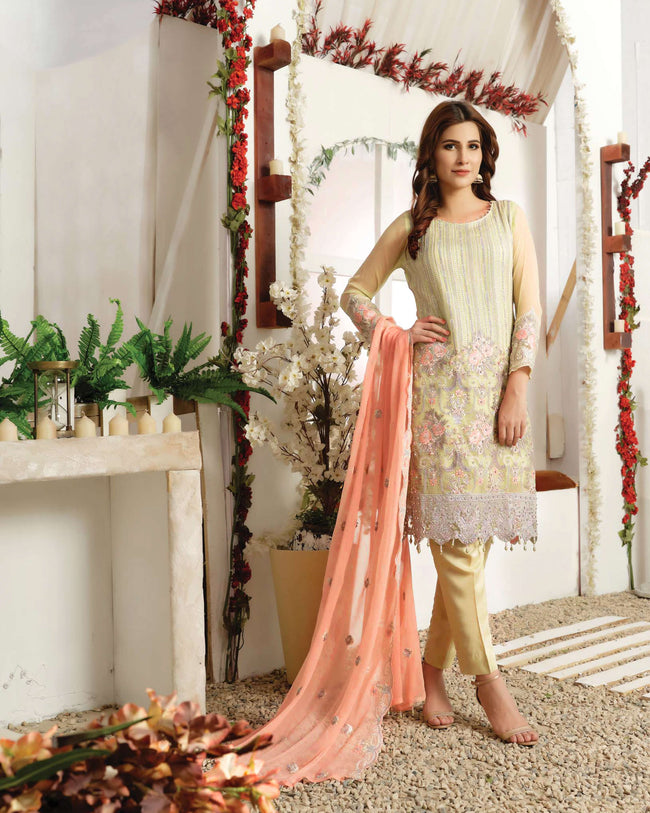 Magnetic Yellow Color Fox Georgette Unstitched Pakistani Suit