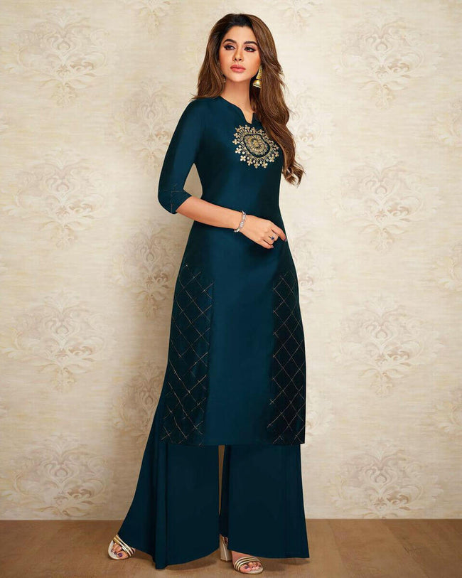 Sky Blue Partywear Embroidered Pure Silk Palazzo Suit