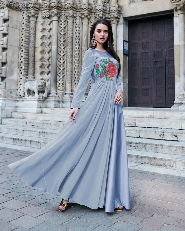 Light Blue Colored Partywear Embroidered Tapeta Silk Gown