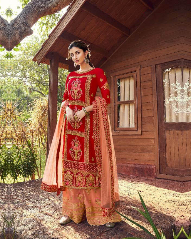 Fantastic Red Colored Party Wear Unstitched Sarara Suit