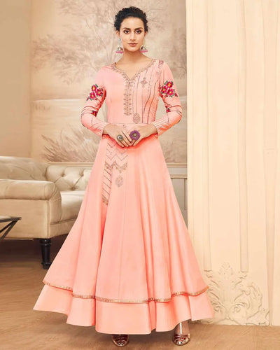 Energetic Peach Colored Partywear Embroidered Cotton Silk Gown