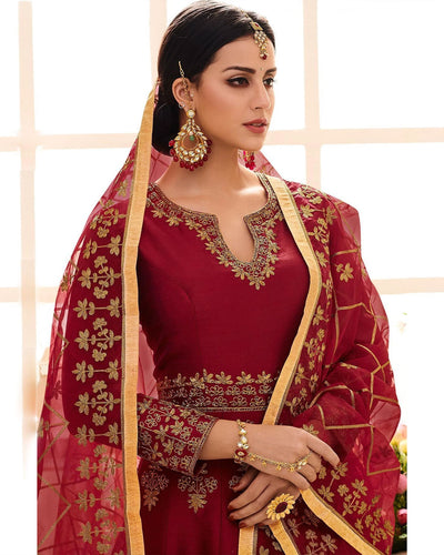 Maroon Color Semi-Stitched PartyWear Silk Anarkali Suit