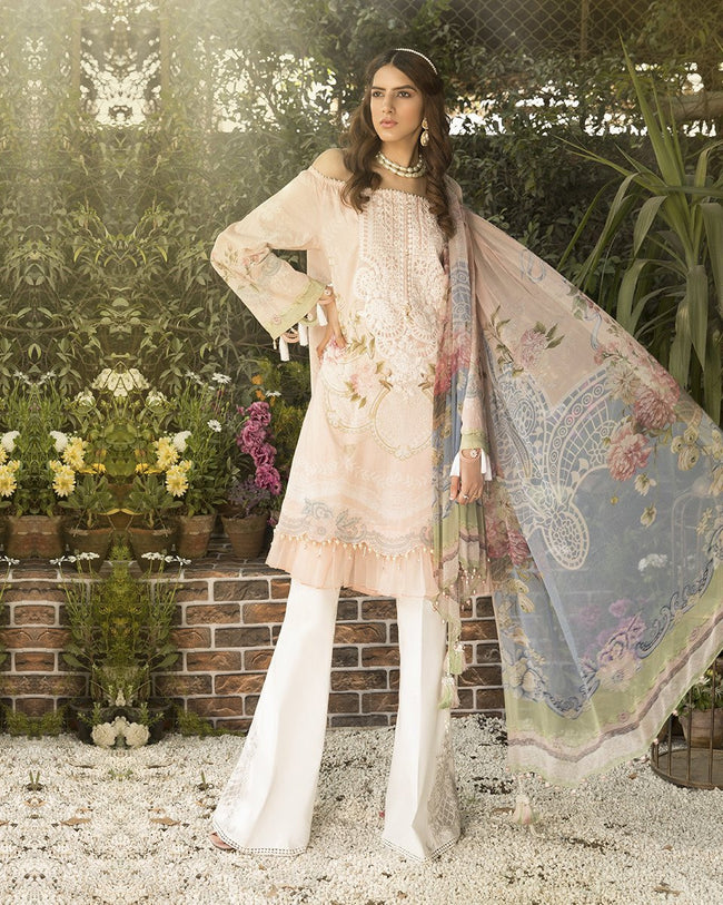 Attractive Peach Color Pure Cotton Lawn Printed Suit