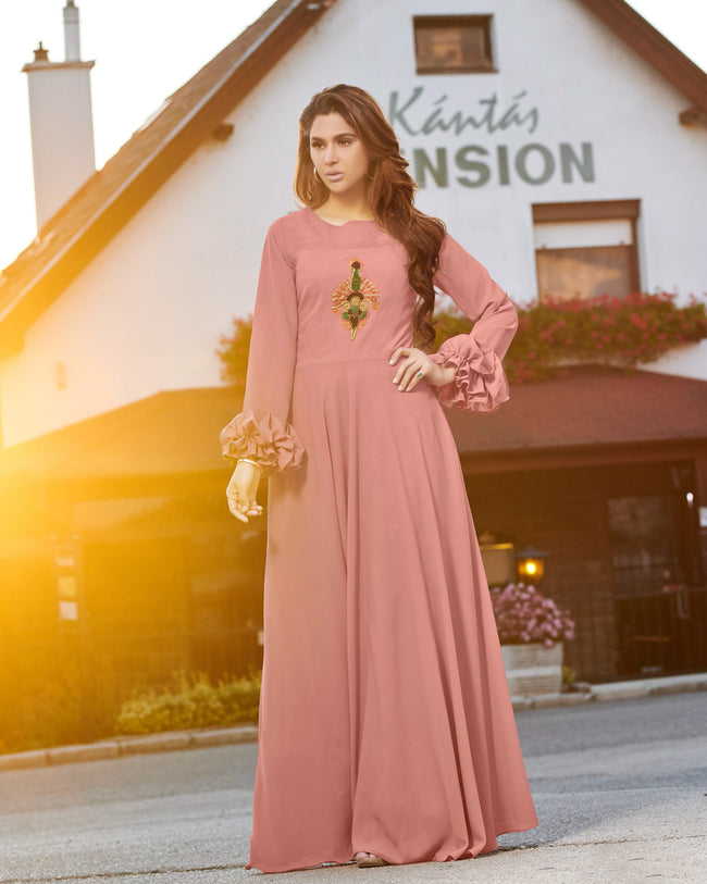 Light Mauve Colored Party Wear Embroidered Georgette Gown