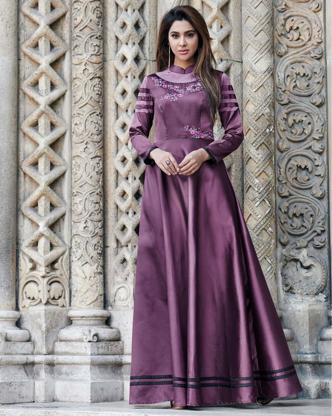 Purple Colored Partywear Embroidered Glowing Soft Silk Satin With Net Gown