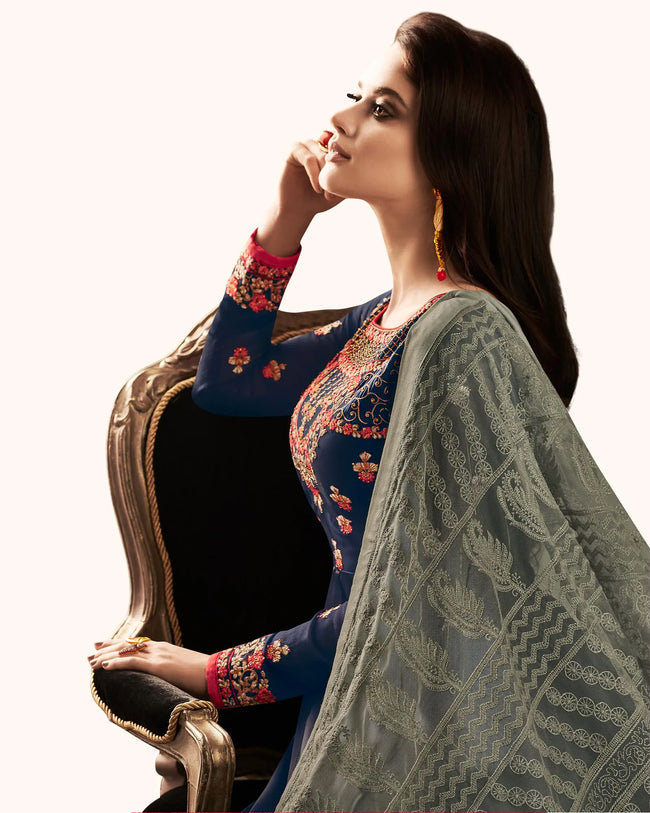 Navy Blue Colored Partywear Embroidered Georgette Satin Anarkali Suit With Net Dupatta
