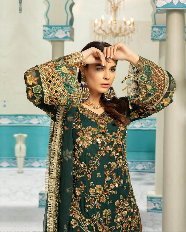 Preferable Green Color Unstitched Pakistani Palazzo Suit