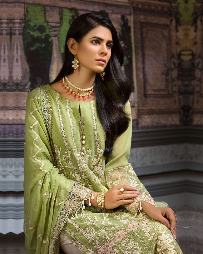 Light Green Colour Chiffon Unstitched Trouser and Classic Dupatta