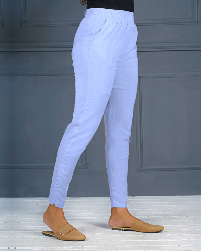 Sky Blue Solid Stretchable Narrow Fit Pant