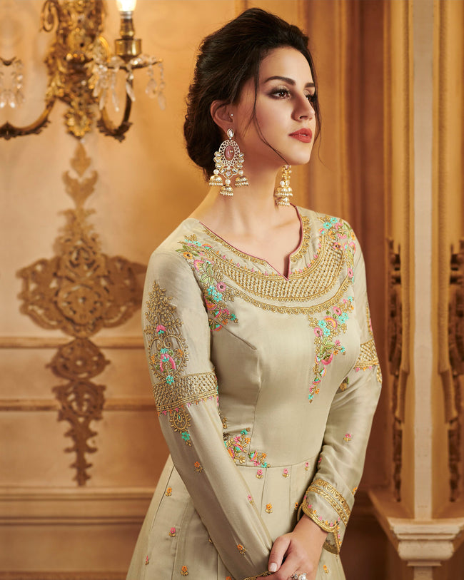 Beige Color Party Wear Georgette With Embroidery Work Lehenga Style Suit