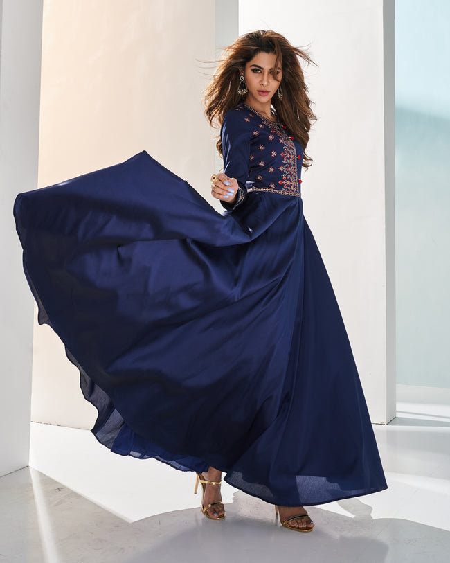 Navy Blue Colored PartyWear Embroidered Silk Gown