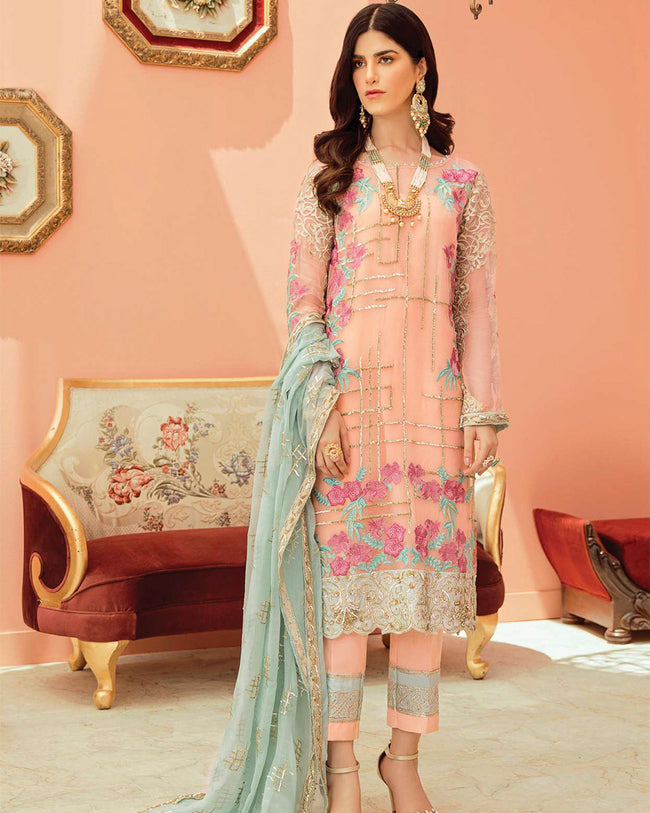 Gleaming Peach Color Georgette Dress Material Pakistani Suit