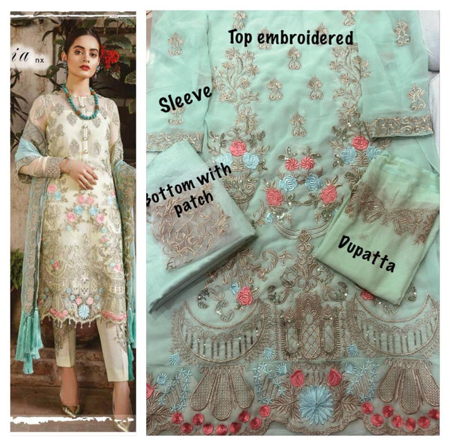 Flaming Light Blue Color Unstitched Designer Pakistani Suit