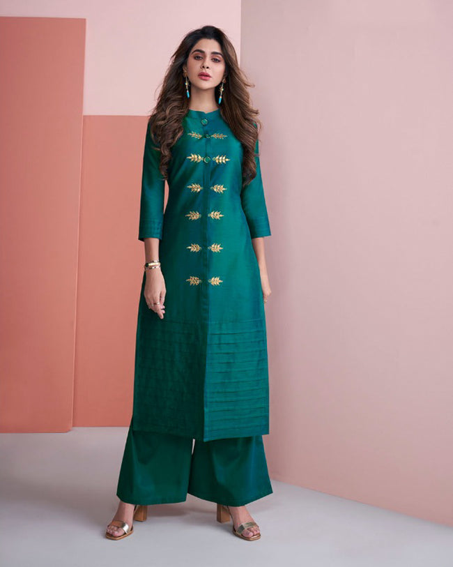 Teal Green Colored Gota Pati Work Casual Palazzo Suits
