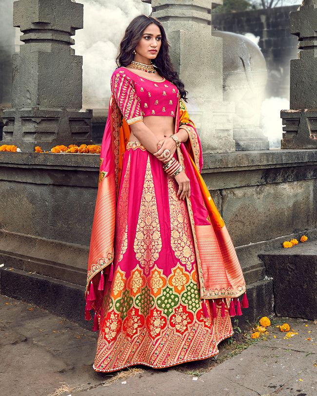 Magenta Pink Color Bridal Wear Silk Thread Work Lehenga Choli