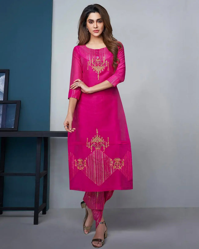 Magenta Pink Color Party Wear Silk Stylish Pant Suits