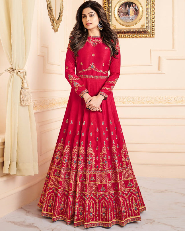 Red Color Bridal Wear Silk Semi Stitched Embroidery Anarkali Gown