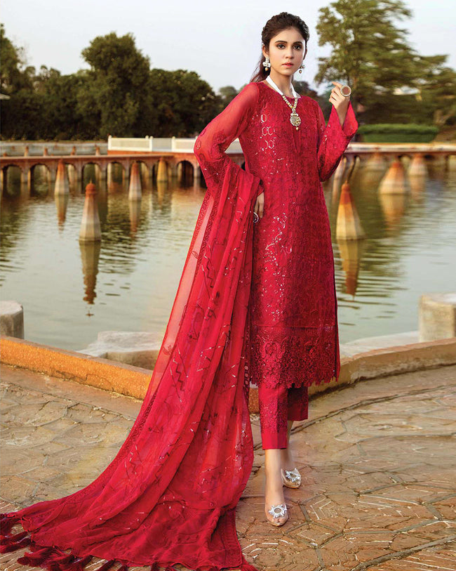 Gleaming Red Color Unstitched Pakistani Pant Style Suits