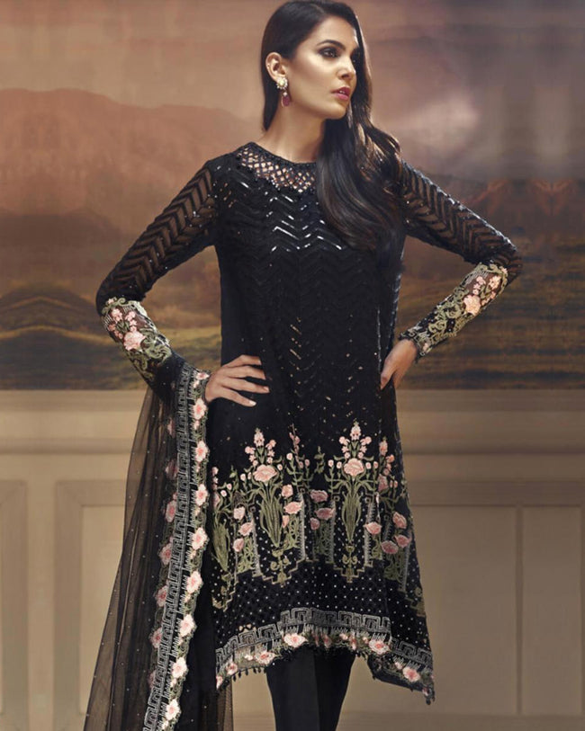 Alluring Black Color Netted Unstitched Pakistani Pant Style Suit