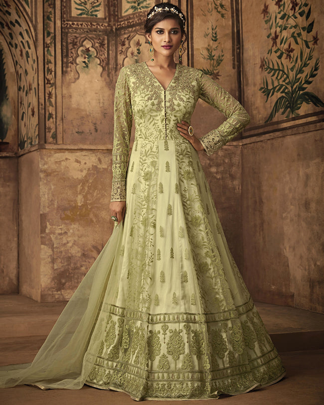 Light Green Color Wedding Wear Net Semi Stitched Anarkali Suit