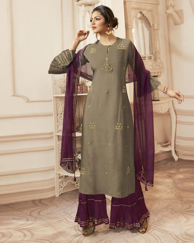 Gray Colored Casual Wear Pure Viscose Purple Palazzo Dupatta Suit
