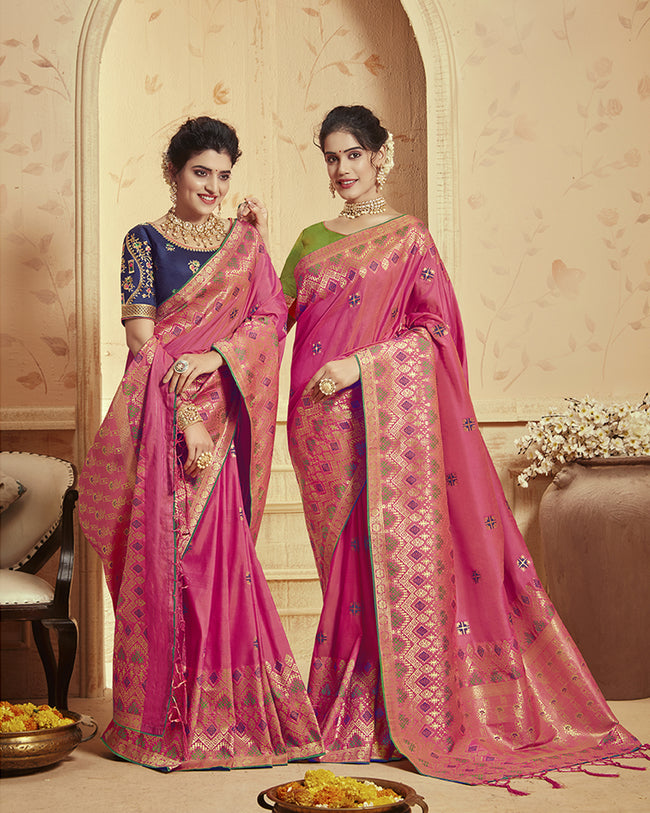 Magenta Pink Color Festive Wear Heavy Banarasi Silk Saree With Double Blouse