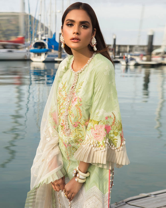 Light Green Color Pure Cotton Printed Pakistani Embroidery Suit (Made in India)